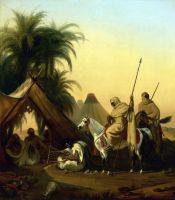 Вершники і арабські ватажки слухають музиканта