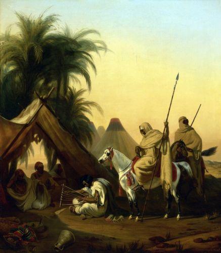Всадники и арабские главари слушают музыканта