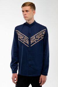 Мужские вышиванки Мужская вышитая рубашка темносиняя