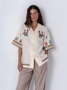 Вышиванки ручной работы Льняная рубашка с коротким рукавом и вышивкой Konyk