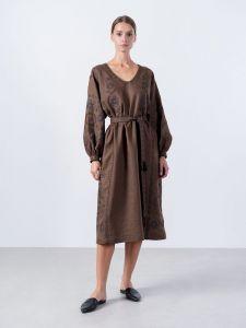 Вышиванки ручной работы Льняное миди-платье темно-коричневого цвета Cacao