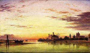 Романтизм Венеція, захід сонця після дощу