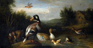Барокко Речной пейзаж с водоплавающими птицами