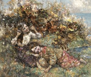 Хорнел Эдвард Аткинсон Девушки, собирающие дикие цветы