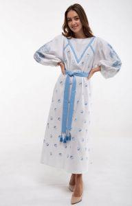 Вышитые платья Платье вышиванка Росинка белое