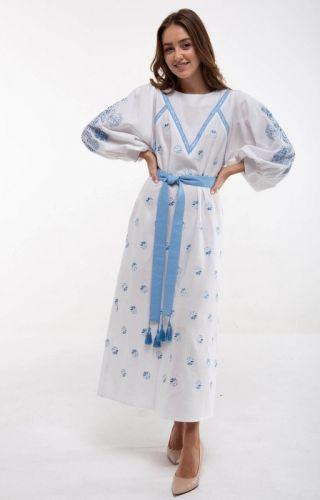 Платье вышиванка Росинка белое