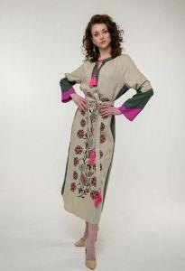 Платье вышиванка ручной работы Вышитое платье Луга беж