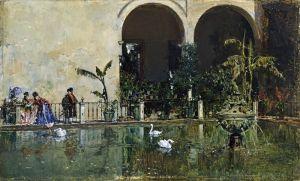 Мадрасо Раймундо Пруд в садах Алькасара в Севильи