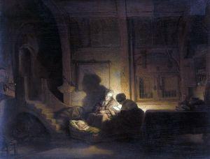 Рембрандт Харменс ван Рейн Святое семейство ночью
