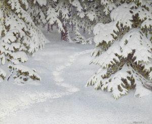 Фьюэстад Гюстав Зимний пейзаж с деревьями, покрытыми снегом