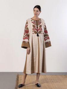 ЕтноДім Лляна сукня вільного крою з аплікації Rio