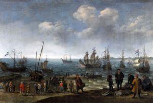 Барокко Берег с рыбаками