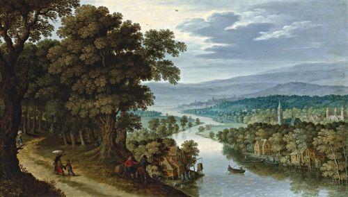 Панорамный горный пейзаж с путниками на дороге и рыбацкой деревней вдали
