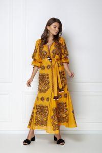 Одежда из льна «Виктори Шик» горчичное платье-макси