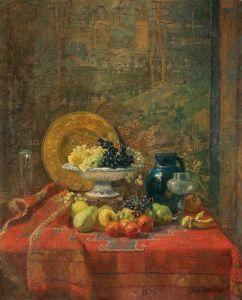 Шарлемон Гуго Натюрморт с фруктами и декоративными предметами