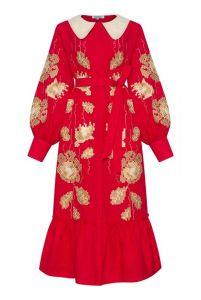 """Платье вышиванка ручной работы """"Адель"""" красное платье-миди с воротником"""