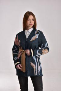 Модний жіночий одяг Кардиган Квітка темносиній