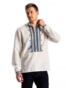 """Мужские вышиванки Мужская вышиванка на сером домотканом полотне """"Полуботок"""" E48"""