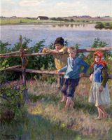 Дети на берегу озера