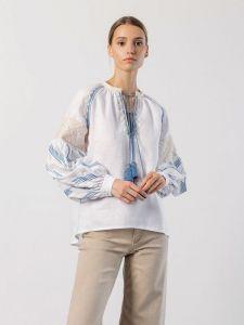 Вишиті жіночі сорочки ручної роботи Лляна вишиванка вільного крою LIRA BLUE
