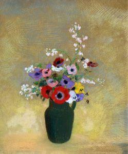 Редон Одилон Большая зеленая ваза с цветами