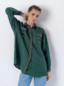 Вышиванки ручной работы Женская льняная рубашка зеленого цвета Forest