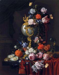 Верендаль Николас ван Натюрморт с цветами, наутилусом, рёмером, устрицами и бабочками