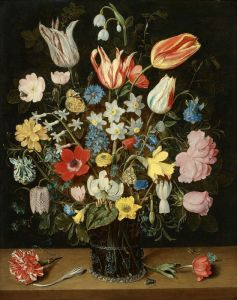 Соро Исаак Букет цветов в стеклянной вазе на столе