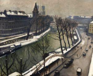Марке Альбер Париж, Набережная Великих Августинцев под снегом