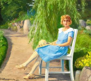 Брендекильде Ганс Андерсен Молодая женщина в легком летнем платье в парке