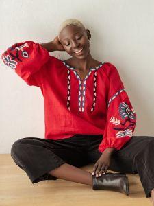 Вишиті сорочки жіночі Вишиванка з льону з рослинним орнаментом Butterfly red