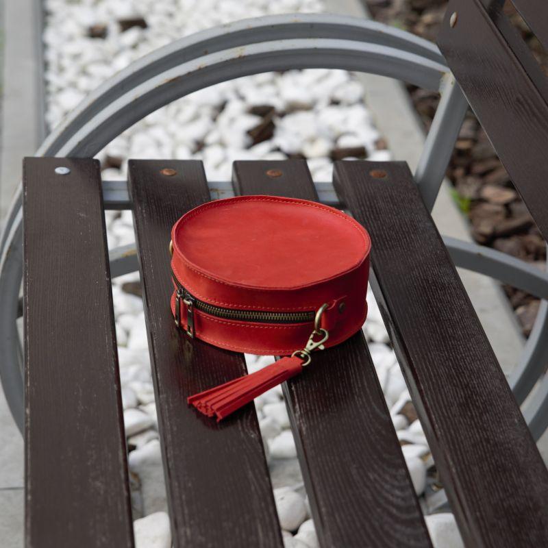Круглая красная сумка из кожи Красный натуральная 100% кожа Омельчук Марина - фото 4