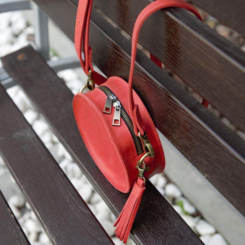 Круглая красная сумка из кожи Красный натуральная 100% кожа Омельчук Марина - фото 2