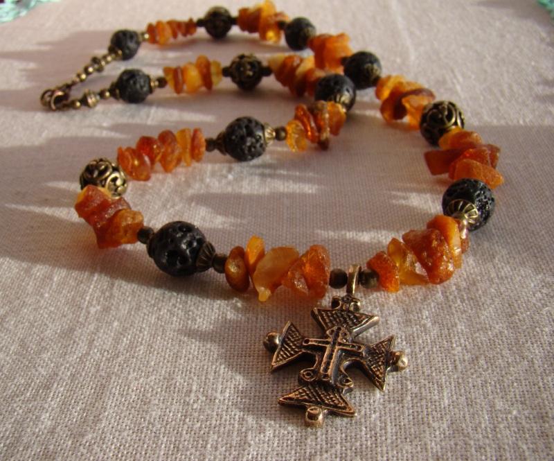 Солнечное ожерелье Разноцветный Янтарь, вулканит, згарда, Агапова Юлия - фото 1