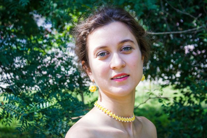 Серьги Цветочные Желтый Чешский бисер, посеребрен Алексютина Анастасия - фото 2