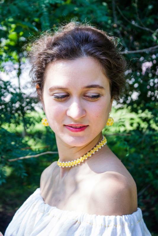 Серьги Цветочные Желтый Чешский бисер, посеребрен Алексютина Анастасия - фото 3
