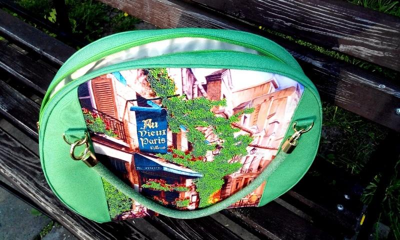 """Сумка """"Улицы Парижа"""" Зеленый Ручная вышивка бисером, р Вино Анна - фото 3"""