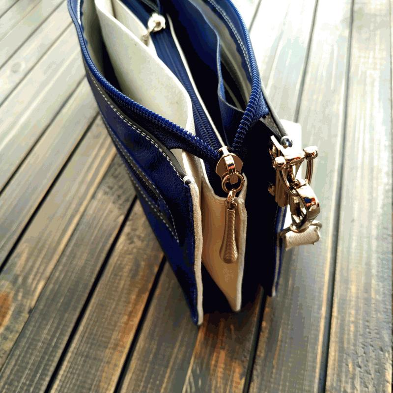 Сумочка - клатч з натуральної шкіри з вишивкою бісером Синій натуральна шкіра, ручна в Віно Анна - фото 5