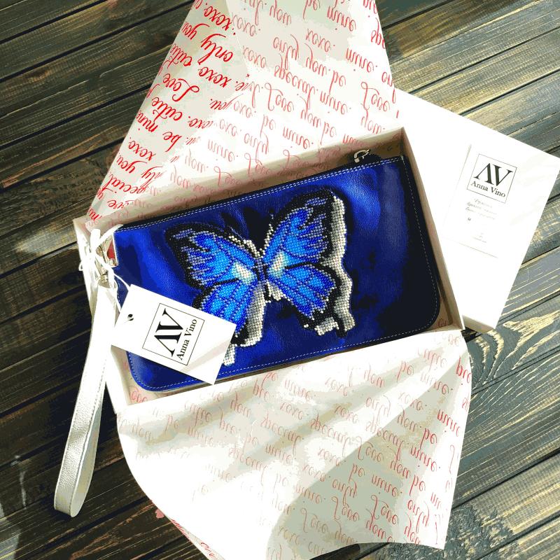 Сумочка - клатч з натуральної шкіри з вишивкою бісером Синій натуральна шкіра, ручна в Віно Анна - фото 1