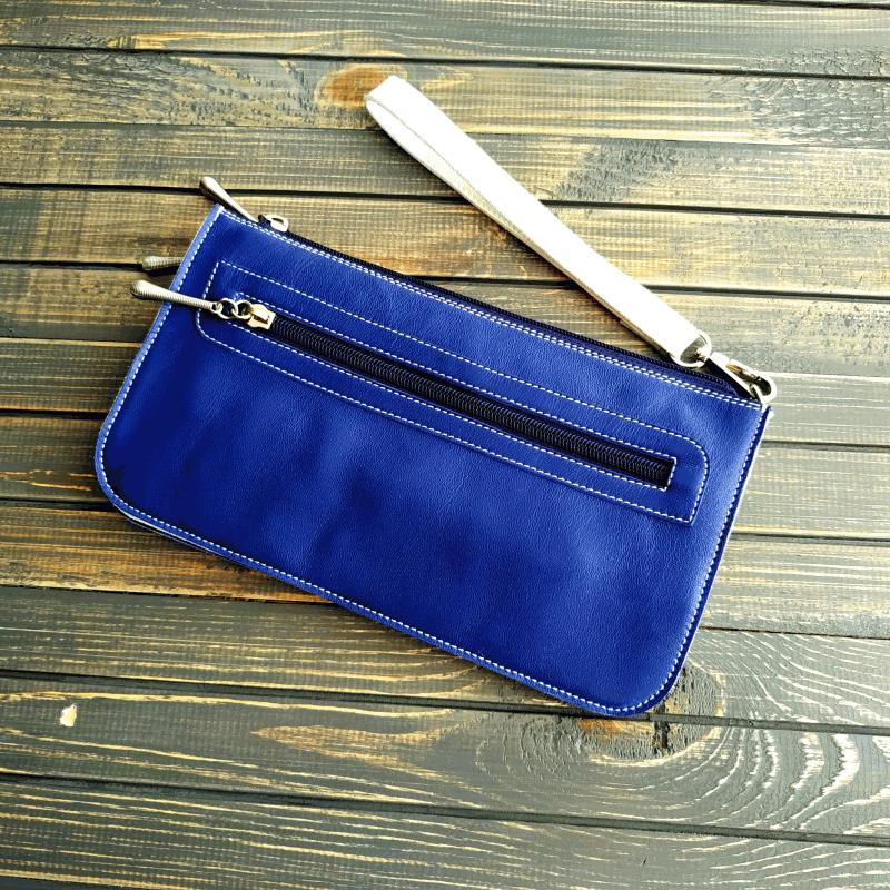 Сумочка - клатч з натуральної шкіри з вишивкою бісером Синій натуральна шкіра, ручна в Віно Анна - фото 3