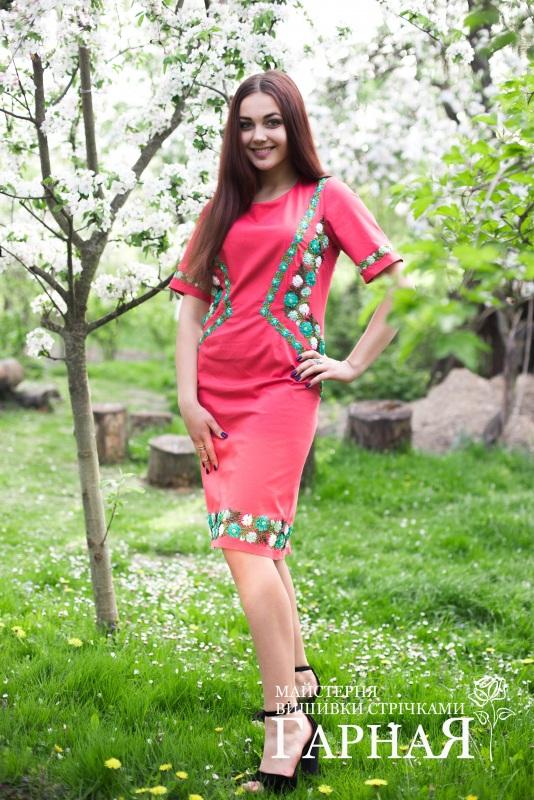 """Платье """"Коралловое"""" Красный Ткань котон, ручная вышив Мастерская вышивки лентами """"ГарнаЯ"""" - фото 4"""