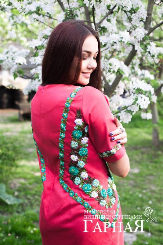 """Платье """"Коралловое"""" Красный Ткань котон, ручная вышив Мастерская вышивки лентами """"ГарнаЯ"""" - фото 2"""