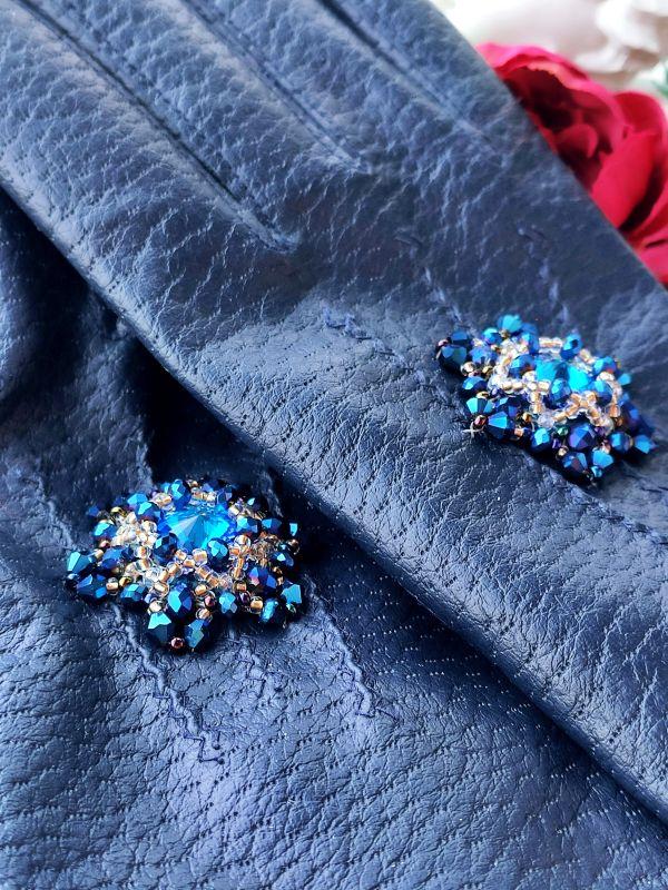 Очень красивые перчатки с кристаллами Сваровски  Екошкіра, кристали Сваров Бартенева Оксана - фото 4