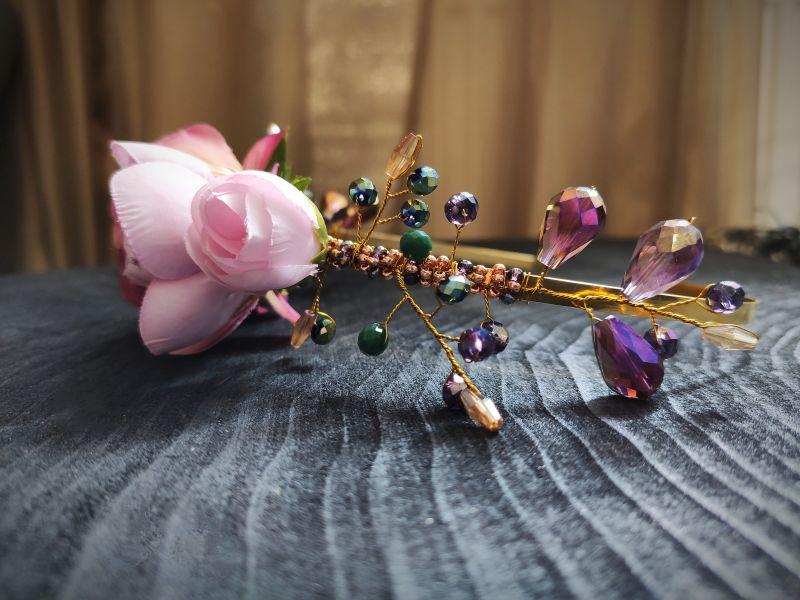 """Ободок для волос """"Цветочный"""" Розовый Металлическая основа, тек Бартенева Оксана - фото 3"""