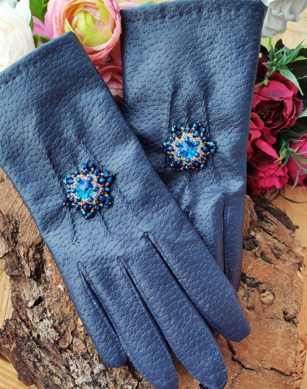 Очень красивые перчатки с кристаллами Сваровски  Екошкіра, кристали Сваров Бартенева Оксана - фото 7