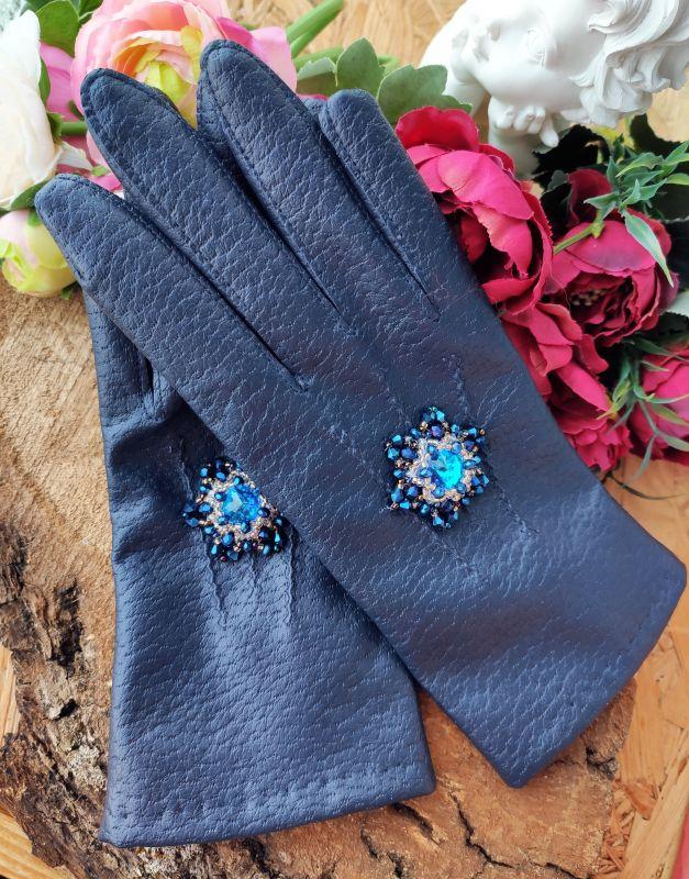 Очень красивые перчатки с кристаллами Сваровски  Екошкіра, кристали Сваров Бартенева Оксана - фото 8