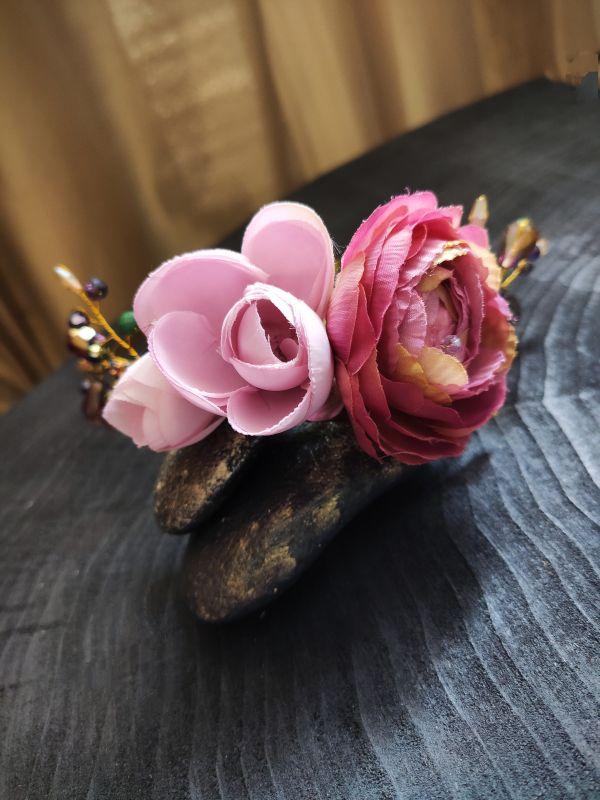 """Ободок для волос """"Цветочный"""" Розовый Металлическая основа, тек Бартенева Оксана - фото 5"""