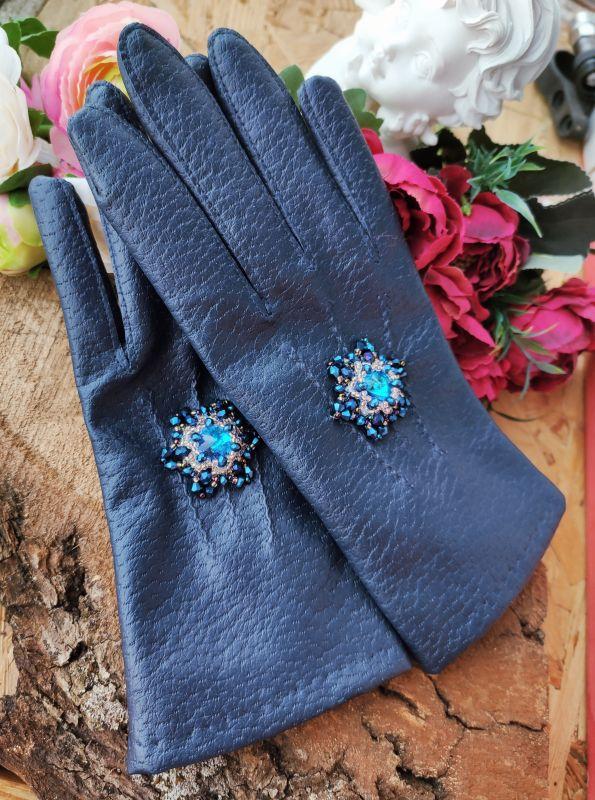 Очень красивые перчатки с кристаллами Сваровски  Екошкіра, кристали Сваров Бартенева Оксана - фото 2
