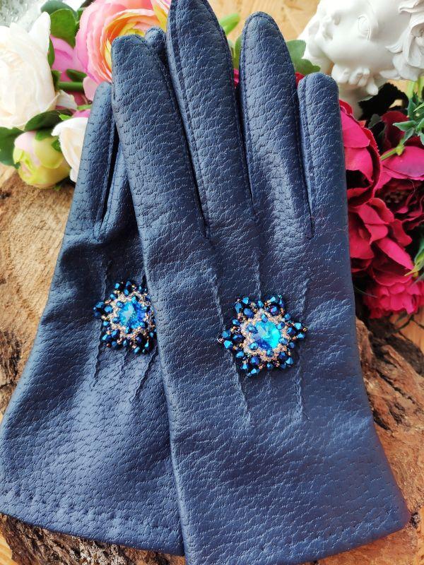 Очень красивые перчатки с кристаллами Сваровски  Екошкіра, кристали Сваров Бартенева Оксана - фото 3