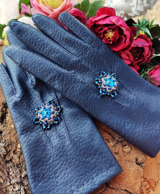 Очень красивые перчатки с кристаллами Сваровски  Екошкіра, кристали Сваров Бартенева Оксана - фото 6